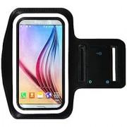 Galaxy S6 / S6 Edge Running & Exercise Armband with Key Holder & Reflective Band (Black)