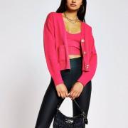 river island Womens Pink gold button knitted cardigan (L)
