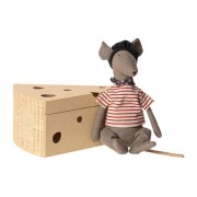 Maileg Rat in cheese box - grey - taille 25 cm - de 0 à 36 mois