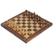 Sunshine Art India Wooden Folding Non-Magnetic Chess With Storage Of Pieces Set 10 X 10 Inches