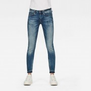 G-Star RAW Dames 3301 Mid Skinny Ripped Edge Ankle Jeans Blauw - Dames - Blauw - Grootte: 28-34 24-30 34-32 33-34 27-34 26-34 24-32