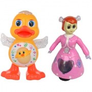 combo of Dancing Duck with 3D princess doll with light music for kids