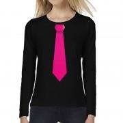 Bellatio Decorations Stropdas roze long sleeve t-shirt zwart voor dames L - Feestshirts