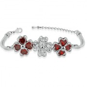 VK Jewels CZ Flowers Rhodium Alloy Bracelet for Women & Girls made with Cubic Zirconia - BR2355R [VKBR2355R]