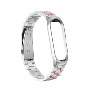 Three Beads Stainless Steel Watch Band Strap for Xiaomi Mi Band 3 / Band 4 - Pink