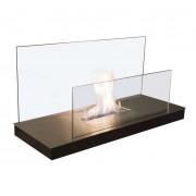 Radius Design Wall Flame 2 Ethanol Kamin Gestell schwarz, Edelstahlplatte matt gläserne Rückwand