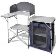 vidaXL Összecsukható alumínium kempingkonyha/ kemping asztal szélfogóval
