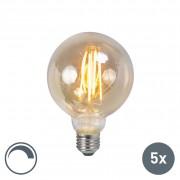 LUEDD Set of 5 E27 LED Filament Gold Smoke G95 5W 450LM