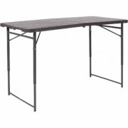 Flash Furniture Plastic Rectangular Folding Table - Brown, 23 1/2Inch W x 48 1/4Inch D x 21 1/2Inch- 29.5Inch H, Model DADLF122Z