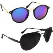 Criba Aviator, Oval Sunglasses(Black, Multicolor)