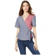 BCBGeneration Wrap Front Short Sleeve Woven Top Dark Navy