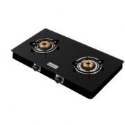 Brightflame Tulip 2 Burner ISI Mark Black Glass Gas Stove For LPG Customer ( CI Burner)