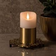 Brass-coloured sleeve - LED wax candle 13.5 cm