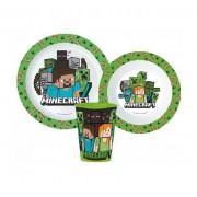 Minecraft étkészlet micro szett pohárral