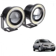 Auto Addict 3.5 High Power Led Projector Fog Light Cob with White Angel Eye Ring 15W Set of 2 For Nissan Micra