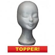 Merkloos Wit paspop hoofd van piepschuim 30 cm