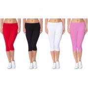 Jakqo Women's Cotton Bio-Wash Capri (Free Size Pack Of 4 Red Black White Baby Pink)