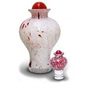 Mini Glazen Urn Roodwit (0.15 liter)