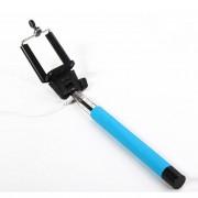 Selfie stick albastru cu cablu si buton, suport pentru telefon si maner ridat