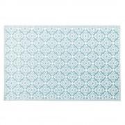 Maisons du Monde Alfombra de exterior azul con motivos decorativos blancos 140x200