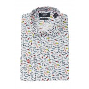 Original Penguin Red Candy Print Heritage Slim Fit Dress Shirt WHITE WRED PRINT