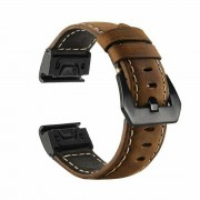Genuine Leather Watchband Replacement Strap for Garmin MARQ Series/Fenix5/5X/5S/Forerunner945/Approach S60 - Brown
