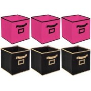 Billion Designer Non Woven 6 Pieces Large Foldable Storage Organiser Cubes/Boxes (Black & Pink) - CTKTC35288 CTLTC035288(Black & Pink)
