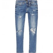 River Island Danny - Middenblauwe ripped superskinny jeans