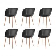 vidaXL Jídelní židle 6 ks černé plastové sedáky, ocelové nohy