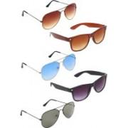 Zyaden Aviator, Aviator, Aviator, Wayfarer, Wayfarer Sunglasses(Brown, Blue, Green, Brown, Black)