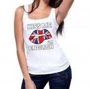 Shoppartners Kiss me I am English tanktop / mouwloos shirt wit dames