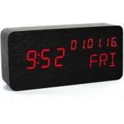 Ceas de birou display LED din lemn senzor sunet temperatura data alarma negru