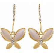 Asmitta Exotic Butterfly Shape With Crystal Gold Plated Dangle Earring For Women
