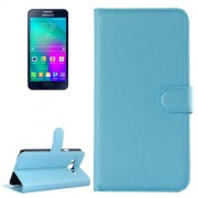 Samsung Galaxy A7 Case, / A700F Litchi Texture Horizontal Flip Leather Case with Holder & Card Slots & Wallet(Blue)