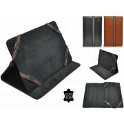 Luxe Hoes voor Hip Street Titan 7 Inch , Echt lederen stijlvolle Cover , Kleur Zwart