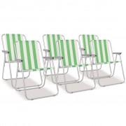 vidaXL Scaune camping pliabile 6 buc Oțel Verde și alb