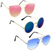Vitoria Round, Aviator, Cat-eye Sunglasses(Multicolor)