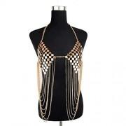 OMAS Collar de la joyería de la Cadena del Cuerpo de la Honda de la Lentejuela del Metal de Las Mujeres Atractivas de la Borla(Dorado)