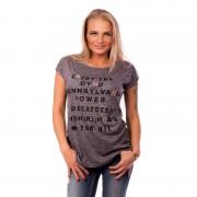 V&V Dámské tričko s módní aplikací METALIC LETTER - tmavě šedé (L / XL) - V&V