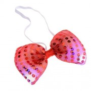 Fashion Bow Tie LED Lights Flashing Colorful Light up Bow Tie Necktie Sequins Bowtie Wedding Party, Red