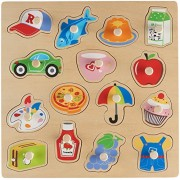 Wooden Daily Peg Puzzle – Food – Transportation – Daily Life Items - By Dragon Drew (15 PC Set)