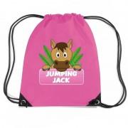 Shoppartners Jumping Jack paarden rugtas / gymtas roze voor kinderen