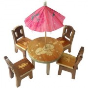 Desi Karigar Cute Wooden Doll House Miniature Dinning Table For Kids 3+ Years