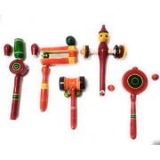Crafts India Hand Crafted Wooden Classic Rattle set - Assorted and Multicolored