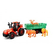 Breno red Farmer Friction Tractor Trolley Toy for Kids, Push and Go Toys, Tractor for Kids with Animals Toys (Builder Beast, Lion, Deer)