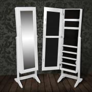 vidaXL Шкаф за бижута с огледало, цвят бял