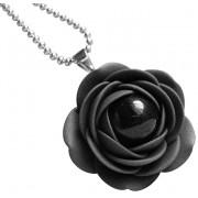 Troli Colier negru cu flori de perle negre