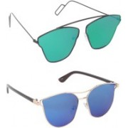 Pogo Fashion Club Wayfarer, Retro Square Sunglasses(Green, Blue)
