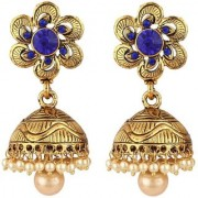 Jewels Gold Alloy Amazing Golden Plated Traditional Designer JG-Jm7589 Jhumki/Jhumka Earring Set For Women Girls