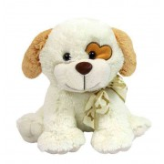 Cream 15 Inch Sitting Dog Soft Toy with Heart Patch Eyes